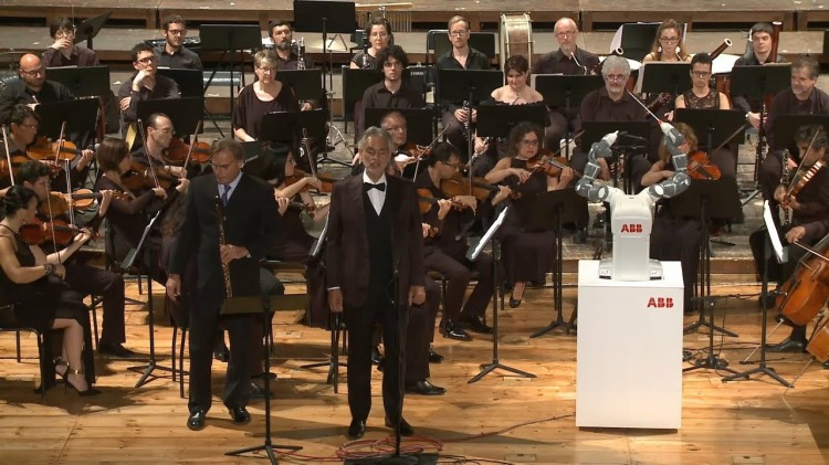 YuMi the Anthropomorphic Robot Conducts the Lucca Philharmonic Orchestra in Pisa, Italy