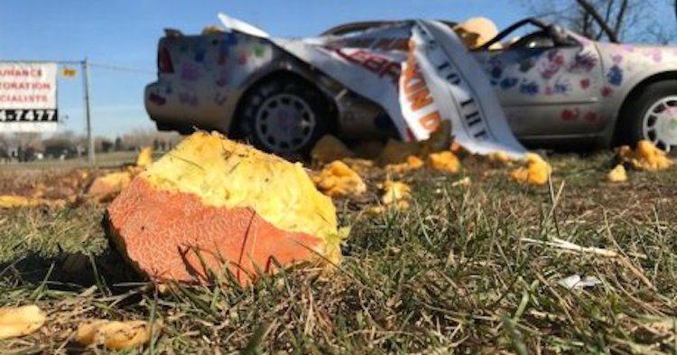 A 1,300 Pound Pumpkin Dropped From a Crane Smashes a Nissan Maxima in the Name of Charity