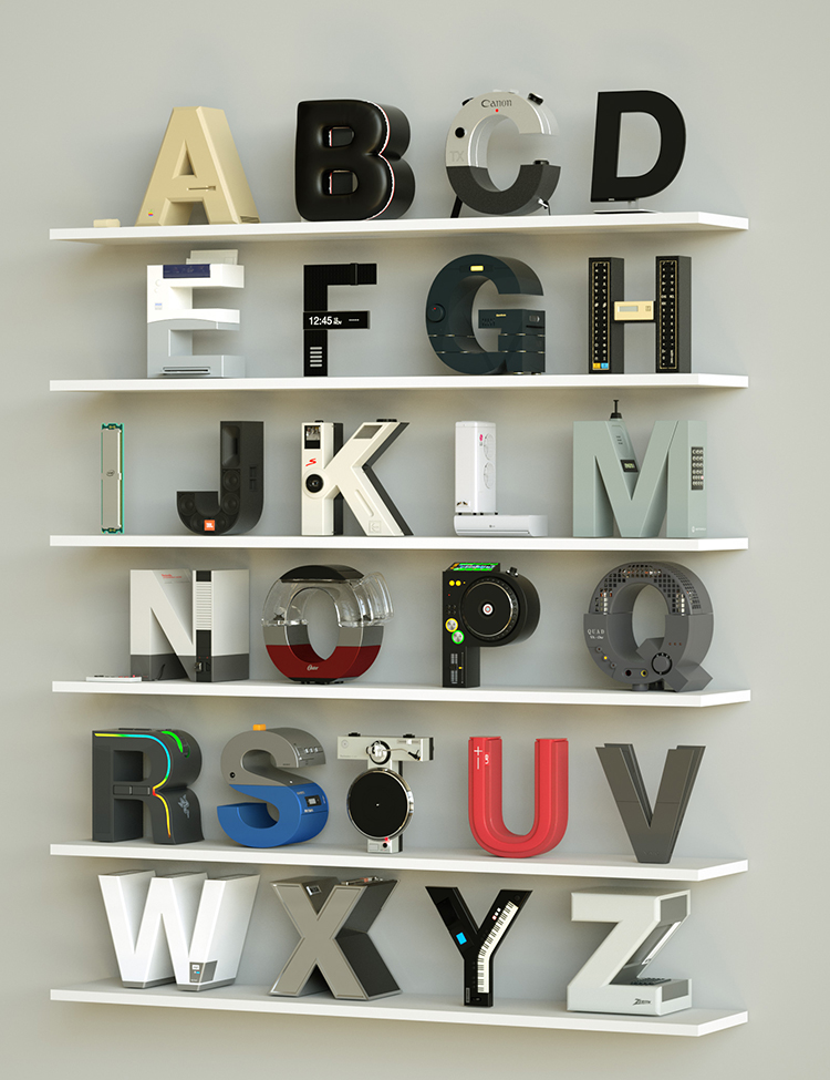 Unique A Stunning Digital Alphabet Featuring Electronics as Letters That Each Represent a Popular Brand