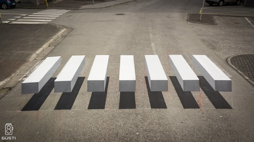 Iceland Town Paints Ingenious 3D Optical Illusion Pedestrian Crossing In Order To Slow Down Traffic