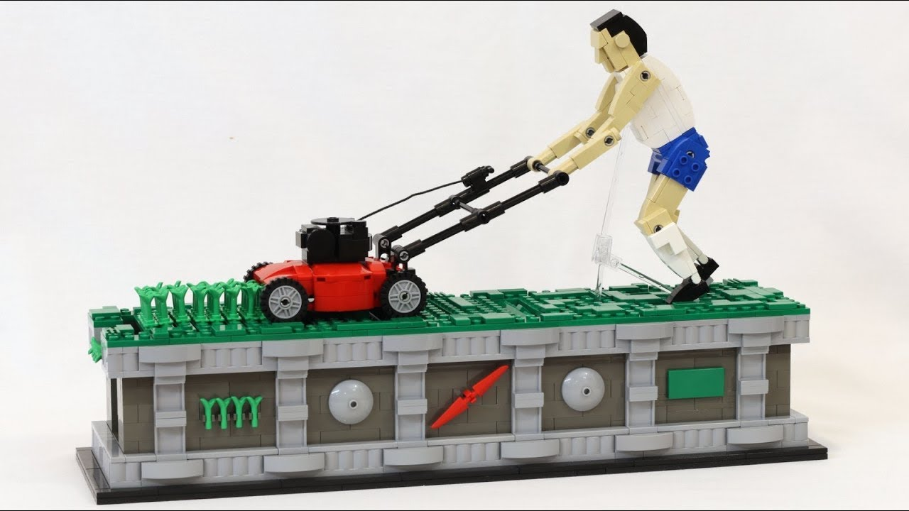 An Amazing Kinetic LEGO Sculpture of a Modern Day Sisyphus Mowing His Lawn For All Eternity