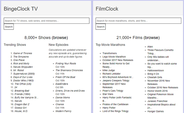 BingeClock, A Website With Data On How Long It Takes to Watch an Entire TV or Movie Series