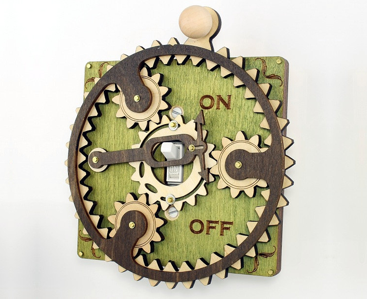 Interactive Steampunk Light Switch Covers Featuring Functional Gears and Levers