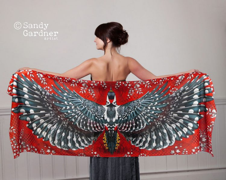 Beautiful Digitally Printed Cotton Scarves Featuring the Colorful Wingspans of Various Birds