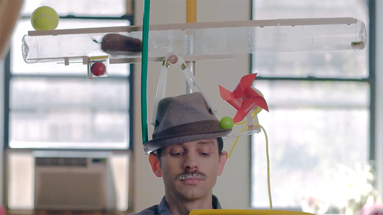 An Elaborate High-Tech Smart Hat That Automatically Cleans Off a Milk Mustache