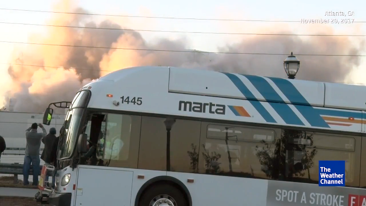 A Bus Pulls Up and Hilariously Blocks The Weather Channel's View of the Georgia Dome Implosion