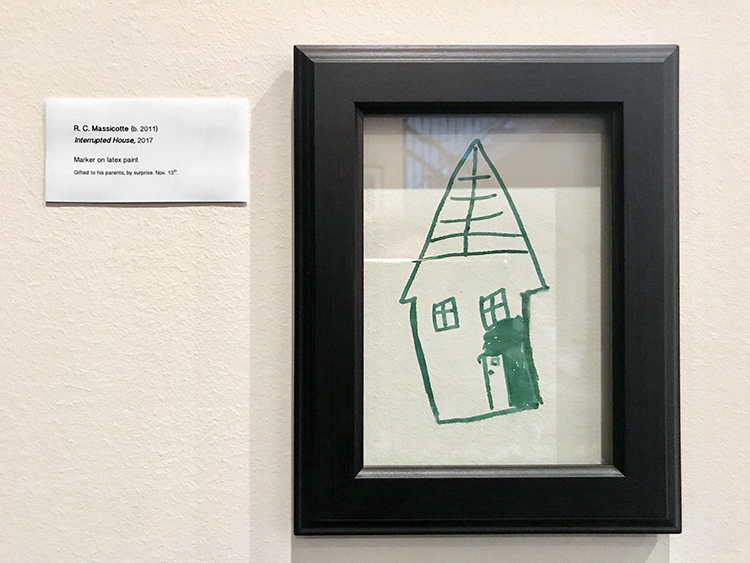 Creative Mother Turns Her Son's Drawing on a Wall Into a Framed Work of Art on Display at a Gallery