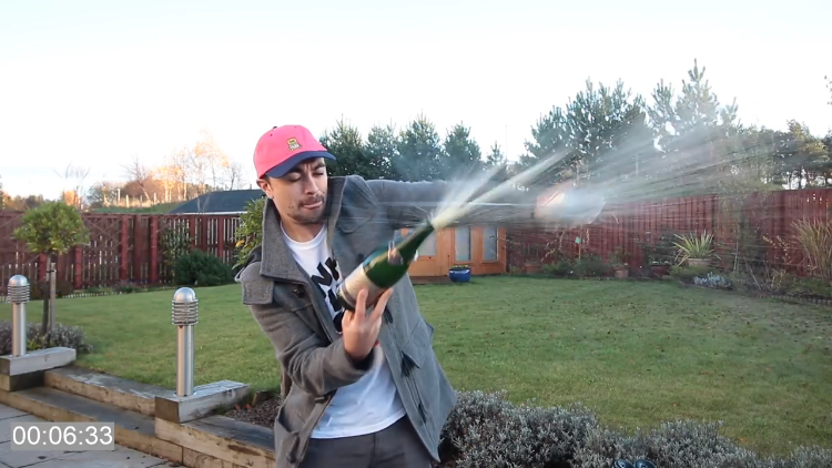 Determined Man Learns How to Open a Champagne Bottle With a Sword