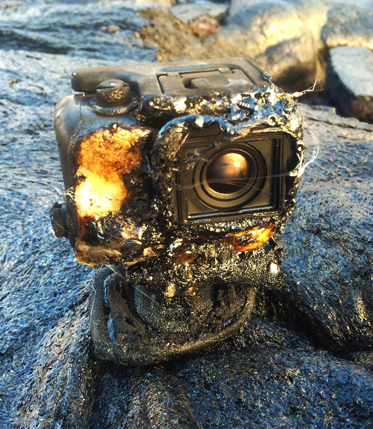 A GoPro Camera Captures Amazing Footage As It Is Covered in Lava and Set on Fire