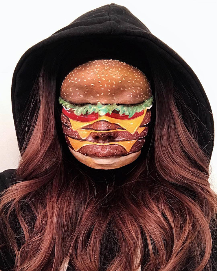 Makeup Artist Transforms Her Face Into a Hamburger and Pizza and Her Hand Into a Hot Dog