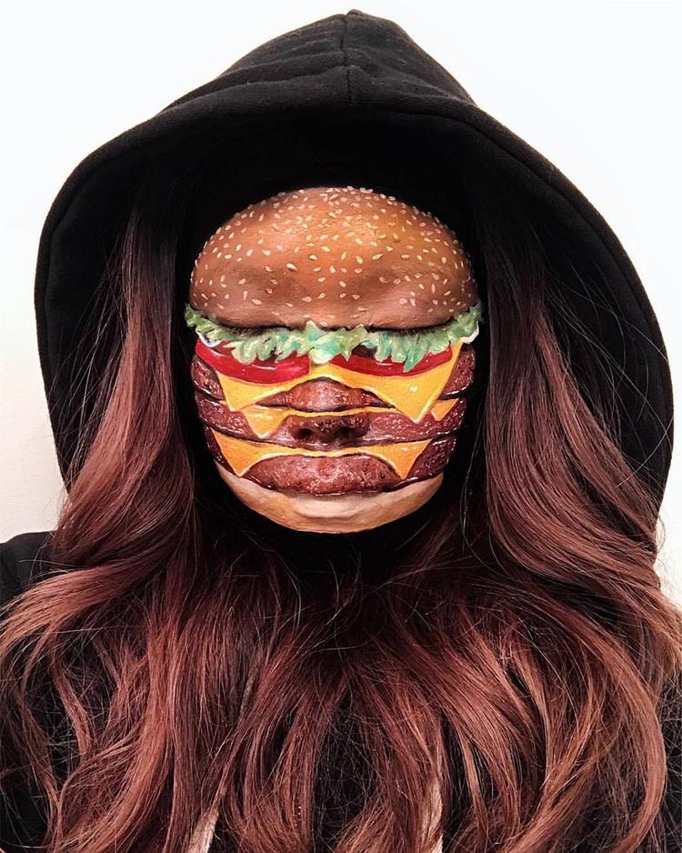 Makeup Artist Transforms Her Face Into A Hamburger And