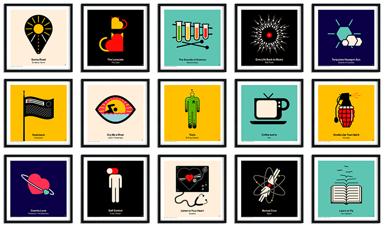 Square Vinyl Album Cover Prints Featuring Pictogram Illustrations of Popular Song Titles