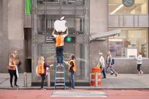 Putting Up the Apple Sign