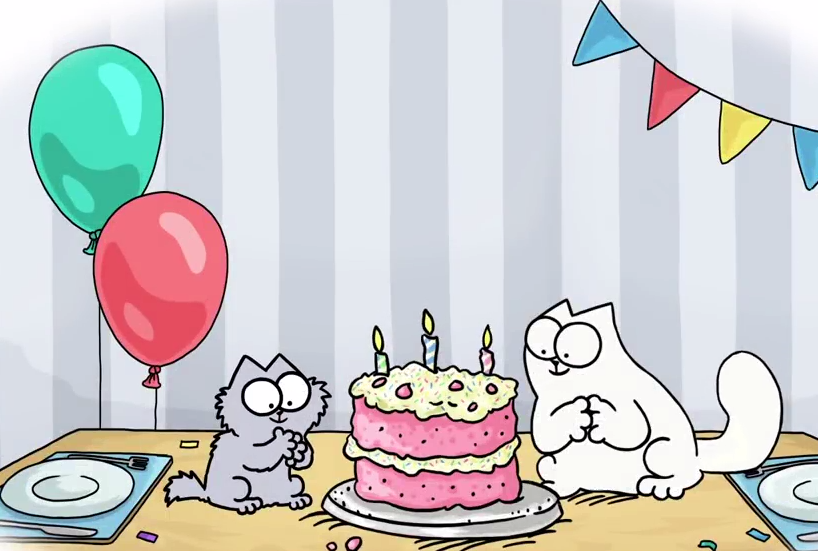 Картинка с днем рождения кот саймона, кусочков