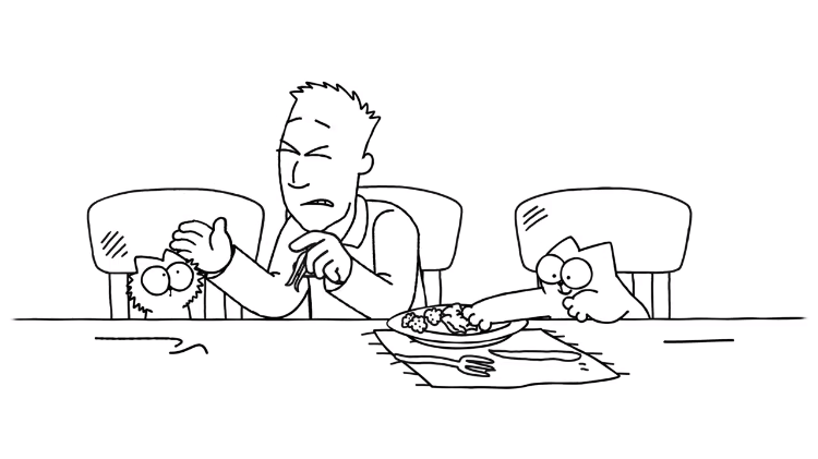 Simon's Cat and Kitten Team Up to Steal Simon's Yummy Thanksgiving Dinner Away From Him