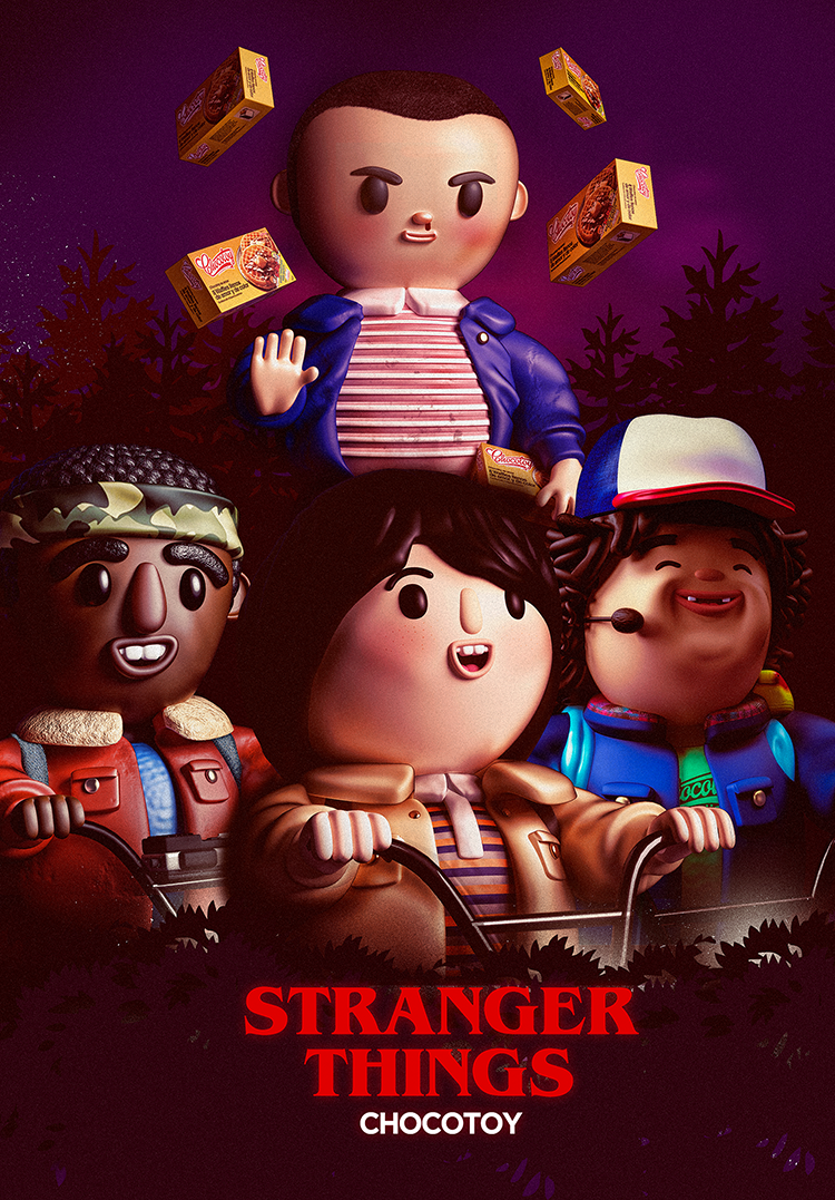 The Stranger Things Kids Illustrated as Adorable Toy-Like Characters