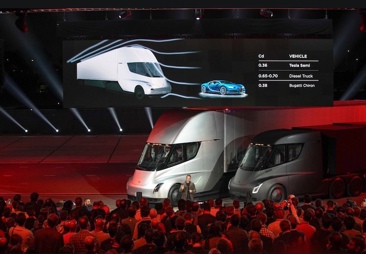 Elon Musk Unveils the New Tesla Electric Semi-Truck and Second-Generation Roadster Sport Car