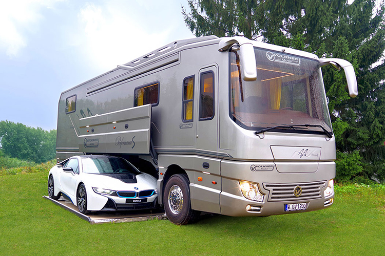 Volkner mobil luxury motorhome features a built in garage for Motorhome with large garage