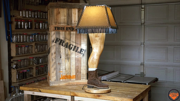 Woodworker Makes Manly Version Of The Leg Lamp From U0027A Christmas Storyu0027  Based On His Own Leg