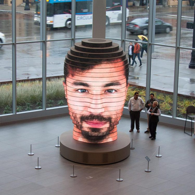As We Are, An Amazing Giant Interactive Head That Displays Images Taken at a Photo Booth in Its Neck