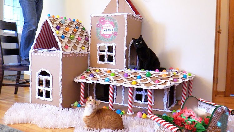 How to Make a Cardboard Gingerbread House For Cats in Households That Can't Have Christmas Trees
