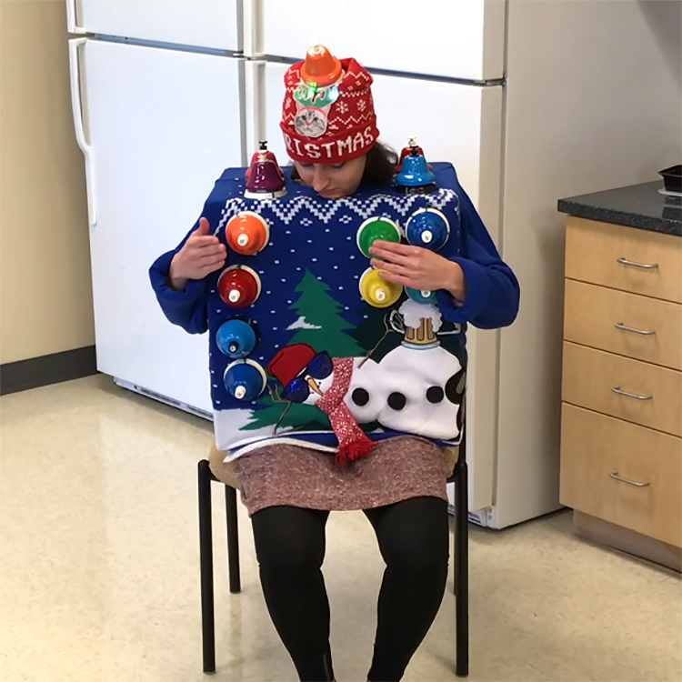 Carol of the Bells Played on an Ugly Christmas Sweater Equipped With Bells