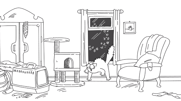 An Anxious Simon's Cat Desperately Attempts to Hide From the Noisy Fireworks Show Outside