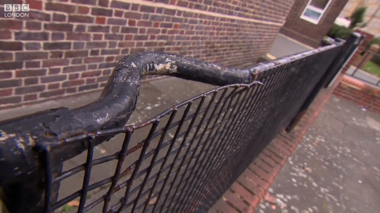 Hospital Stretchers From World War II Battlefields Recycled and Used as Yard Railings Around London