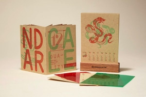 The 12 Musketeers 2018 Letterpress Calendar With Translucent Red and Green Overlays