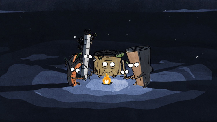 An Animated Short About a Group of Freezing Logs Who Use Their Own Bodies for Fire Fuel