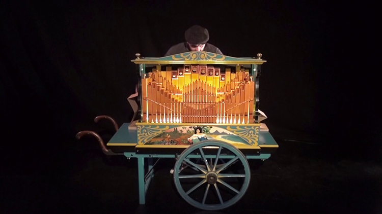 A Catchy Version of the Star Wars Cantina Band Song Played on a Barrel Organ