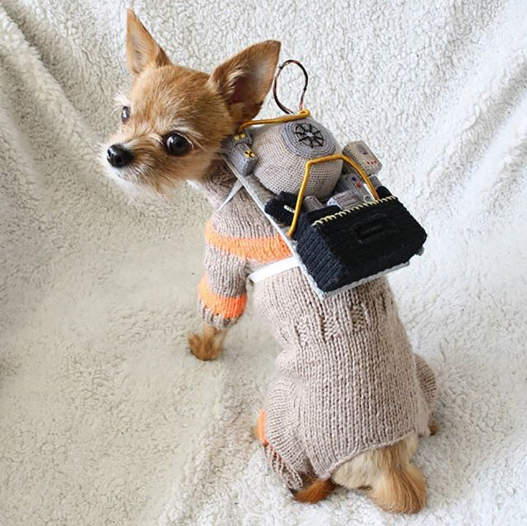 Crocheted and Knitted Ghostbusters Dog Costume