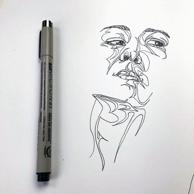 Drawing Lines Without Lifting Pen : Artist draws human faces and necks in one continuous line