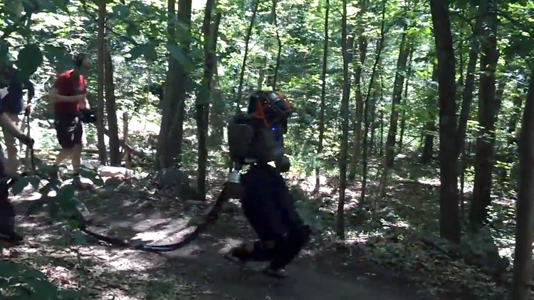 Woman Walking Her Dog Spots Boston Dynamics Taking an Atlas Robot on Walk Through the Woods