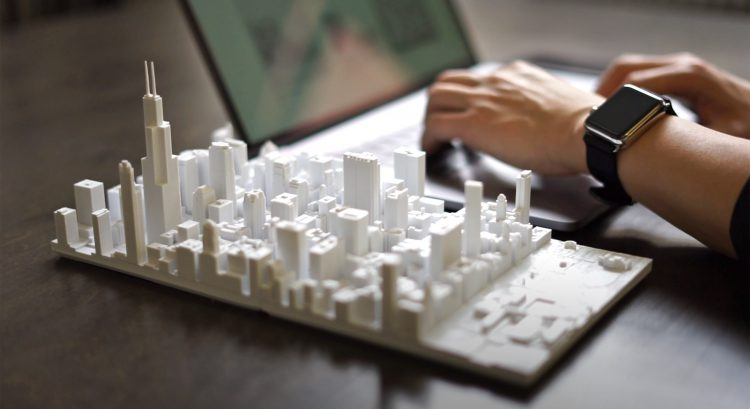 A Miniature Downtown Chicago Cityscape Puzzle With 3D Tiles Printed Using Real Time Aerial Data