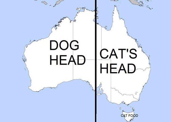 Australia Is Made Up of a Dog Head and a Cat Head