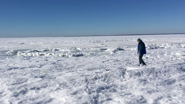 Amazing Footage of the Atlantic Ocean Frozen Solid at Old Silver Beach in Cape Cod, Massachusetts