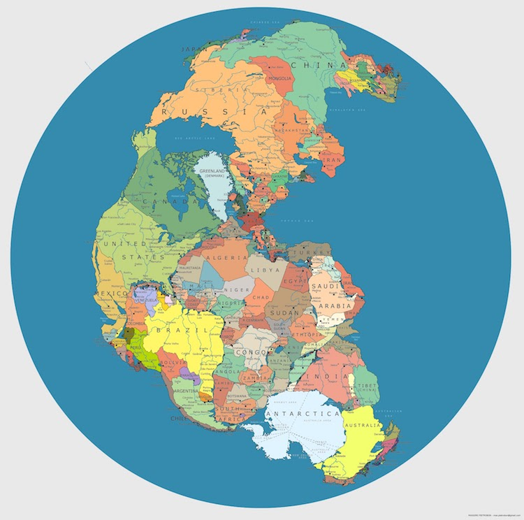 A Brilliant Map of the Supercontinent Pangaea With Modern Day Country Borders