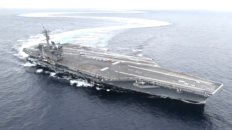 USS Abraham Lincoln Aircraft Carrier Drifting and Doing Donuts in the Atlantic Ocean