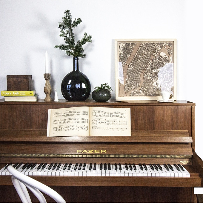 City Wood Map and Piano