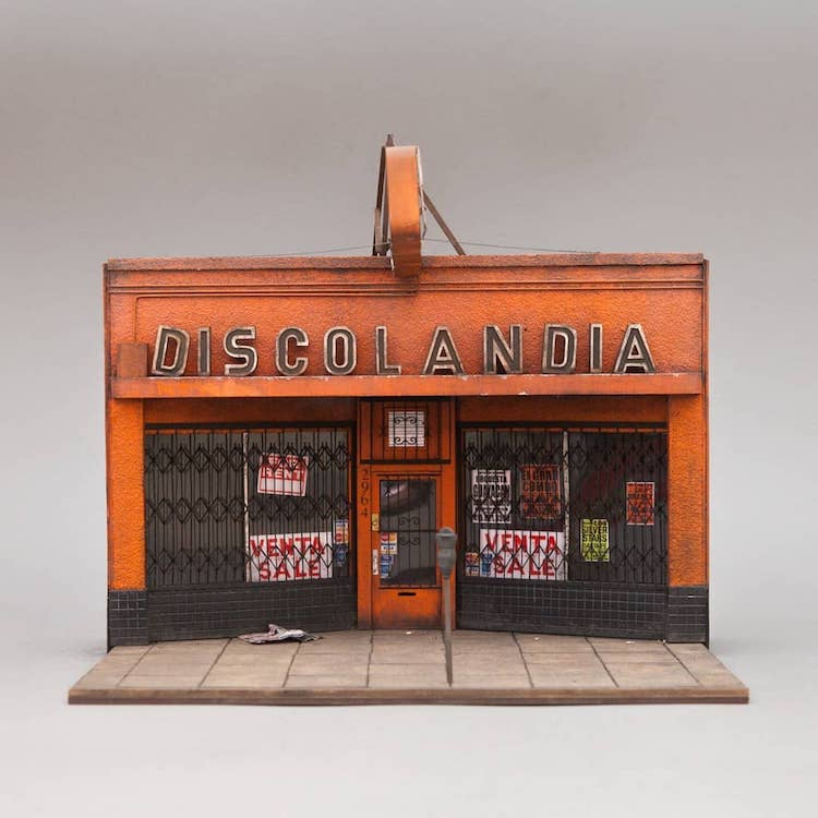 An Incredibly Detailed Miniature Scale Replica of the Defunct Discolandia Record Store in San Francisco