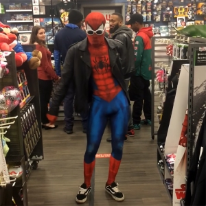 Ghetto Spider-Man Dances to 'Take on me' by A-ha at GameStop