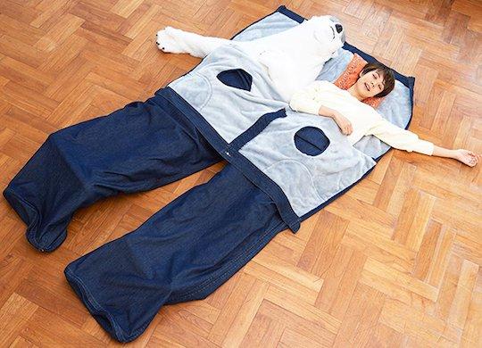 Jeans Sleeping Bag Open Halfway