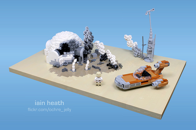 Luke's Grizzly 'Burning Homestead' Scene From Star Wars A New Hope Recreated Using LEGO
