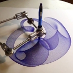 Mesmerizing Timelapse of Spiral Drawings Being Made by a Mechanical Drawing Machine