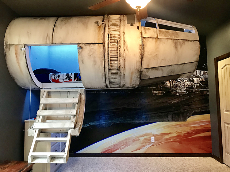 Dad Builds His Son A Star Wars Millennium Falcon Bed That Hangs From