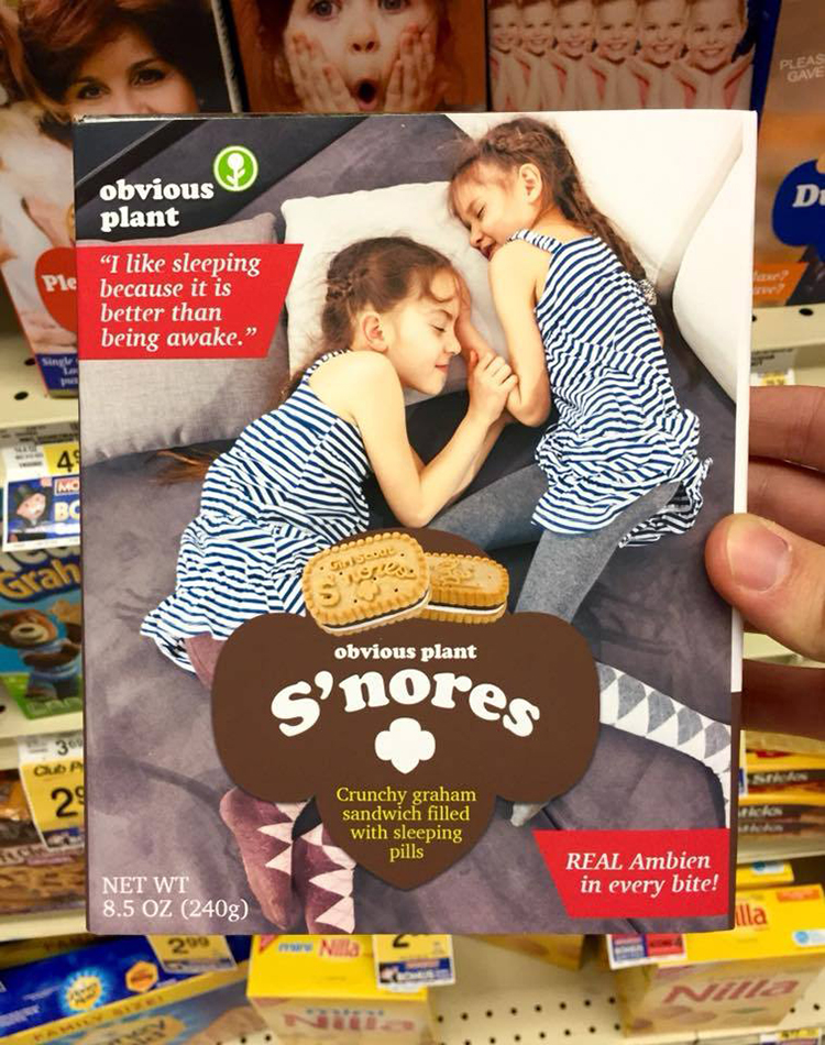 Obvious Plant Leaves Boxes of Funny New Girl Scout Cookie Flavors at Local Grocery Store