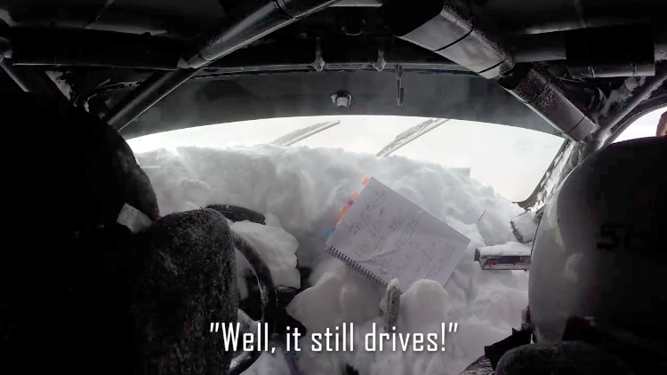 Rally Car Driver Rolls Vehicle Into a Snowbank and Somehow Keeps Going to Finish 2nd Overall