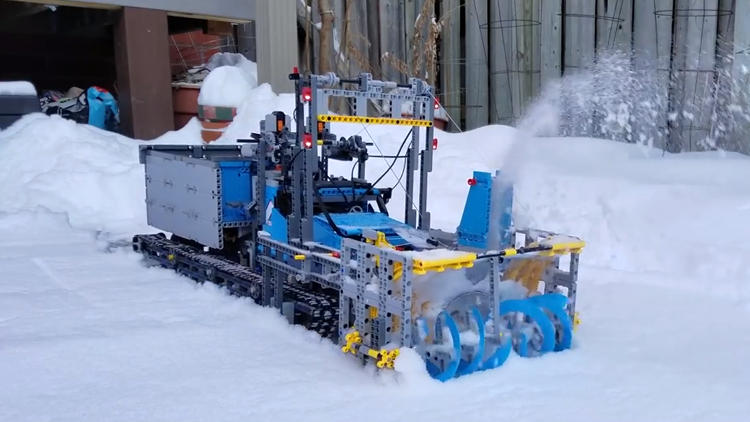 a functioning snow blower made out of lego