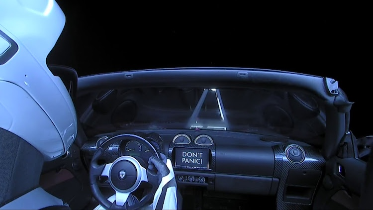 spacex sends a red tesla roadster into space with bowie s. Black Bedroom Furniture Sets. Home Design Ideas